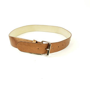 "Goldish Brown Metallic Leather S/M 32"" Belt"